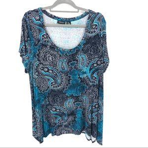 Blue Paisley Plus Size Top Shirt Jones Co 2X